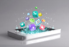 Smartphone with apps Royalty Free Stock Photo