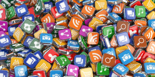 Smartphone apps. Application internet software icons background. Stock Photo