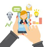 Smartphone apps and chat. Solving business problems, chatting and paying with smartphone Stock Images