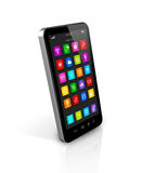 Smartphone with apps icons interface. 3D smartphone, mobile phone with apps icons interface -  on white with clipping path Royalty Free Stock Photos