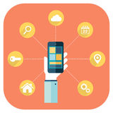 Smartphone apps infographics with a hand holding a phone. Smartphone apps infographics with a hand holding a phone with linked circular icons Stock Photo