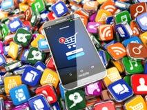 Smartphone apps Mobiele telefoon op de pictogrammen van de toepassingssoftware Stock Fotografie