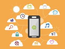 Smartphone apps sänker den infographic designaffären Arkivbilder