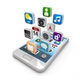 Smartphone apps, smartphone οθονών επαφής με το appli Στοκ εικόνες με δικαίωμα ελεύθερης χρήσης