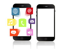 Smartphone apps touchscreen smartphone with application software. Icons extruding from the screen isolated Stock Photo
