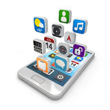 Smartphone apps, touchscreen smartphone met appli Royalty-vrije Stock Afbeeldingen
