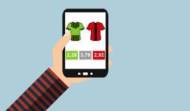 Smartphone: Apuesta del fútbol - diseño plano ilustración del vector