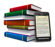 Smartphone as an electronic book Stock Photos