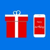 Smartphone as gift / Happy Birthday message. Illustration Stock Photo