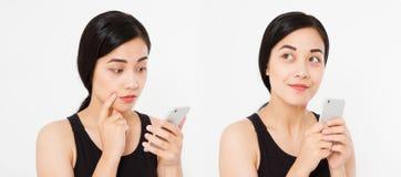 Smartphone asiatico e giapponese della tenuta della ragazza, collage isolato su fondo bianco Copi lo spazio immagine stock libera da diritti