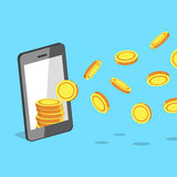 Smartphone attracting money coins Royalty Free Stock Photos