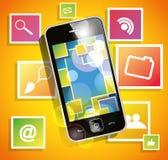 Smartphone auf dem orange Hintergrund mit Ikonen Stockfoto