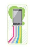 Smartphone auf stilvollen Hintergrundbändern von Linien Lizenzfreie Stockfotos