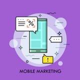 Smartphone avec des annonces sur l'écran et la parole bouillonne Annonce électronique, vente mobile et optimisation illustration stock