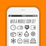 Smartphone avec des icônes d'APP - dirigez le smartphone avec des icônes d'APP sur son écran illustration libre de droits