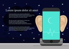Smartphone avec des oreilles, audio de enregistrement sur l'écran Concept de sécurité et protection d'information virtuelle élect Photographie stock libre de droits