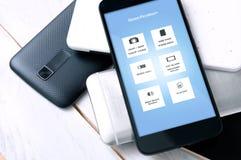 Smartphone avec des spécifications d'écran photos stock