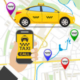 Smartphone avec l'application de service de taxi Image stock