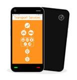 Smartphone avec l'application de service de transport Photo stock