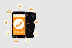 Smartphone avec l'application de service de transport Images libres de droits