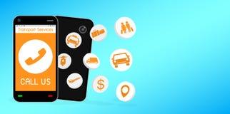 Smartphone avec l'application de service de transport Photographie stock