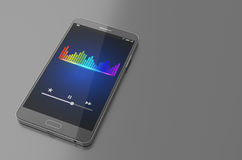 Smartphone avec la barre d'égaliseur de musique sur l'écran illustration 3D Photos stock