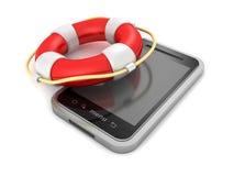 Smartphone avec la bouée de sauvetage rouge sur le fond blanc illustration libre de droits