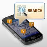 Smartphone avec la bulle de message au sujet de la recherche Images libres de droits