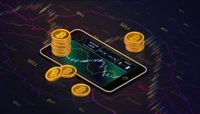 Smartphone avec le diagramme d'argent liquide de bitcoin sur l'écran et les piles du bitcoin d'or encaissent le concept isométriq illustration de vecteur
