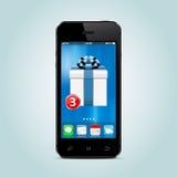 Smartphone avec le nouveau boîte-cadeau APP sur l'écran Image stock