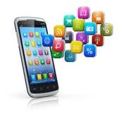 Smartphone avec le nuage des graphismes Photographie stock