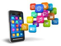 Smartphone avec le nuage des graphismes d'application Photo stock