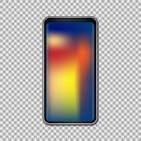 Smartphone avec le plein écran tactile de gradient d'isolement sur le fond transparent Illustration de vecteur Photo stock