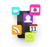 Smartphone avec les apps 3d Images stock
