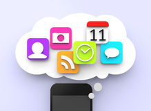 Smartphone avec les apps 3d Photos libres de droits
