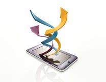 Smartphone avec les flèches en spirale Photo libre de droits