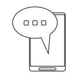 Smartphone bąbla mowy rozmowy cienka linia royalty ilustracja