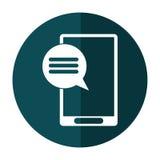 Smartphone bąbla mowy zieleni okręgu komunikacyjny cień Obrazy Stock