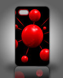 Smartphone back cover black and red. On  grey background Royalty Free Stock Photo