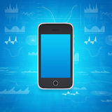 Smartphone on the background of graphs and figures Royalty Free Stock Photo