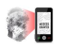 Smartphone balayant une empreinte digitale illustration libre de droits