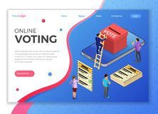 Online Internet Voting Isometric Concept. Smartphone with ballot box, voter and ballot paper. Internet Online Electronic voting Concept. Isometric icons. landing royalty free illustration