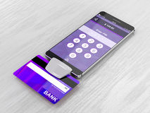 Smartphone and bank card reader Royalty Free Stock Photos