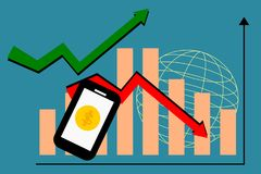 Smartphone with bar chart and arrows. Vector illustration for global business and trend for market. Business and technology concept:  Smartphone with bar chart Stock Image