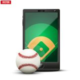 Smartphone with baseball ball and field on the Royalty Free Stock Image
