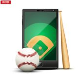 Smartphone with baseball ball and field on the Stock Photography