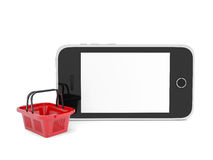 Smartphone and basket for purchasings Royalty Free Stock Photos