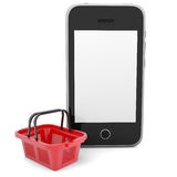 Smartphone and basket for purchasings Stock Photography