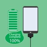 Smartphone battery, flat design, Stock Photo
