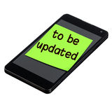 Smartphone Be Updated Post-it Isolated Stock Images